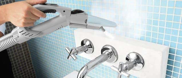 Entfernung von Kalkablagerungen von einer Duscharmatur mittels eines Handdampfreinigers