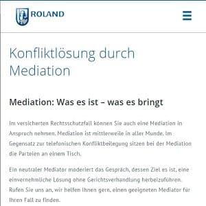 Mediationsdefinition auf der Homepage der Roland-Arbeitsrechtsschutzversicherung