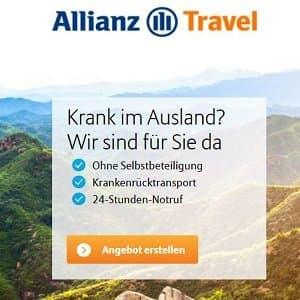 Angebotsübersicht zur Auslandskrankenversicherung der Allianz auf Homepage