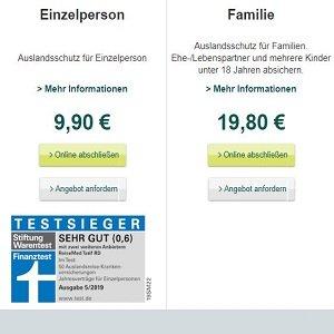 Auslandskrankenversicherungs-Angebot der DKV auf Homepage