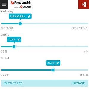 Kreditrechner für Baufinanzierung der Bank Austria