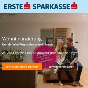 Homepage der Erste Sparkasse mit Angebotsbanner für Baufinanzierung