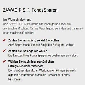 Fondssparplan Angebot der BAWAG P.S.K.