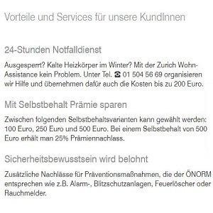 Service-Übersicht der Zurich-Gebäudeversicherung