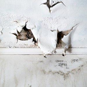 Wand, die durch Wasserschaden zerstört ist und deren Reparatur durch Gebäudeversicherung bezahlt wird