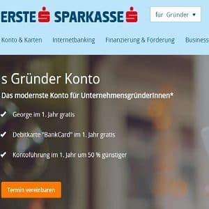 Website der Erste Sparkasse zum Thema Gründer-Konto