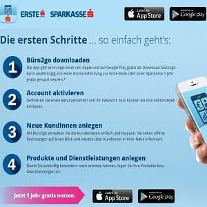 Übersicht zur Installation der büro2go-App der Erste Sparkasse