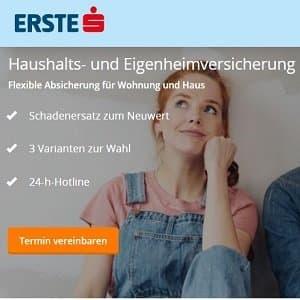 Vorteile der Haushaltsversicherung der Erste Sparkasse auf deren Website