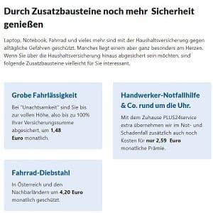 Zubuchbare Pakete zur Haushaltsversicherung der Uniqa auf deren Homepage