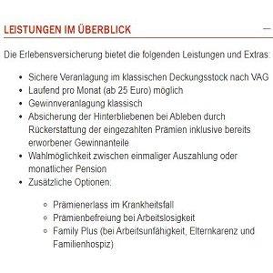 Leistungsübersicht über Kapitallebensversicherung der Wiener Städtischen