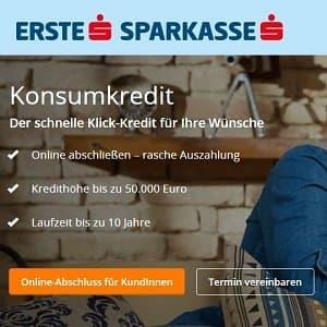 Homepage-Informationen der Erste Bank zu ihren Krediten