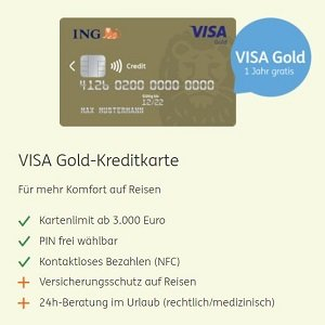 ING Angebot für VISA Gold Kreditkarte mit Reiserücktrittsversicherung