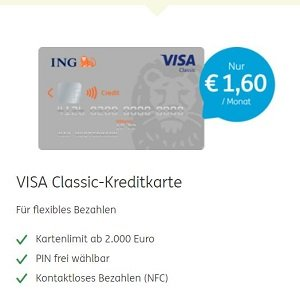 Übersicht zur klassischen VISA-Kreditkarte der ING