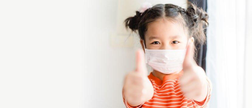 Mundschutzmaske-Kinder-Test