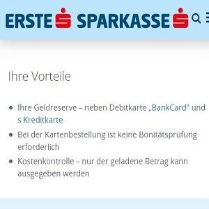 Prepaid Kreditkarten Angebot der Erste Sparkasse