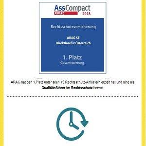 Auszeichnung mit ASS-Compact Award auf Homepage der Arag-Rechtsschutzversicherung