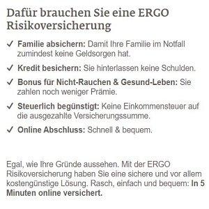 Risikolebensversicherung Angebotsübersicht der ERGO