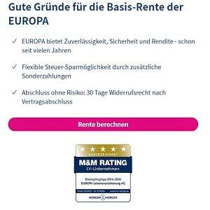 Gründe für Abschluss einer EUROPA-Rürup-Rente auf Homepage der Versicherung