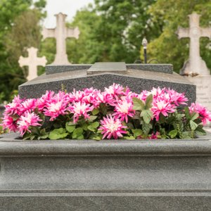 Blumen auf Grab, die dank Grabpflegeservice der Sterbegeldversicherung versorgt werden